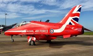A Red Arrows Hawk TMk1 XX177 at RAF Scampton