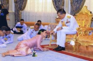 Bangkok, Thailand: King Maha Vajiralongkorn and his consort, General Suthida Vajiralongkorn named Queen Suthida, perform their wedding ceremony in Bangkok