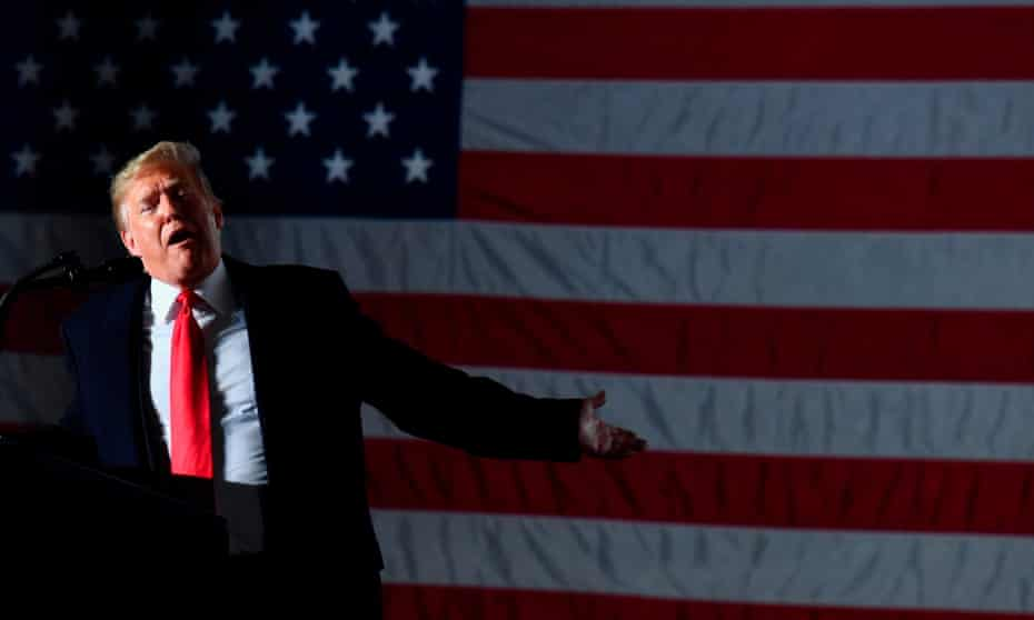 Donald Trump speaks during an election rally in Murphysboro, Illinois.