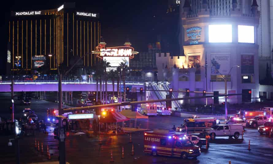 Las Vegas police and medical workers block off an intersection after the mass shooting at a music festival.