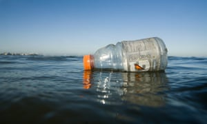 A plastic bottle floating in the ocean in the San Francisco bay. An estimated 7tn pieces of microplastics flow into the San Francisco bay via stormwater drains.