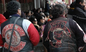 A stock photograph of bikie jackets in New Zealand