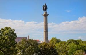 Monument to John C Calhoun in Marion Square in Charleston, South Carolina.