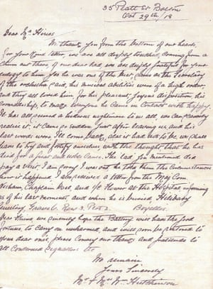 Letter to Arthur Hines from family of William Munro Hutchinson