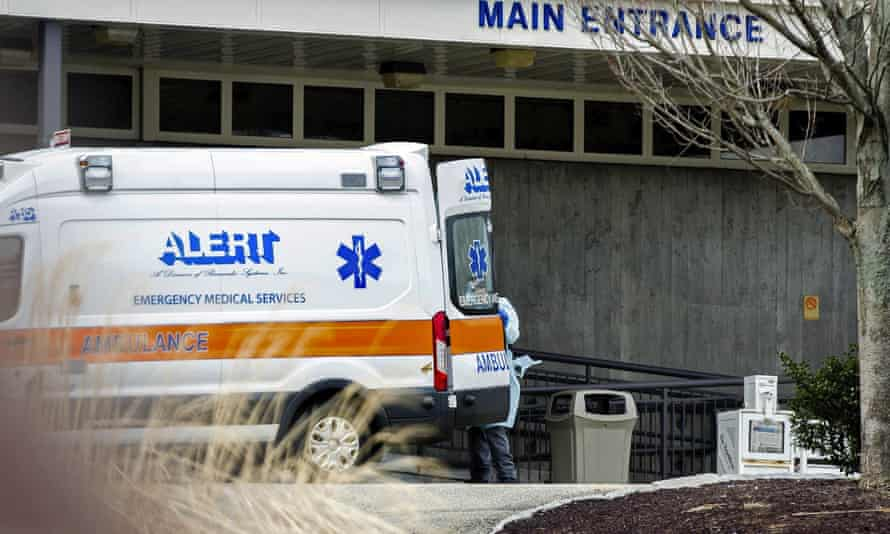 An ambulance outside the Soldiers' Home in Holyoke, Massachusetts, where nearly 70 residents have died.