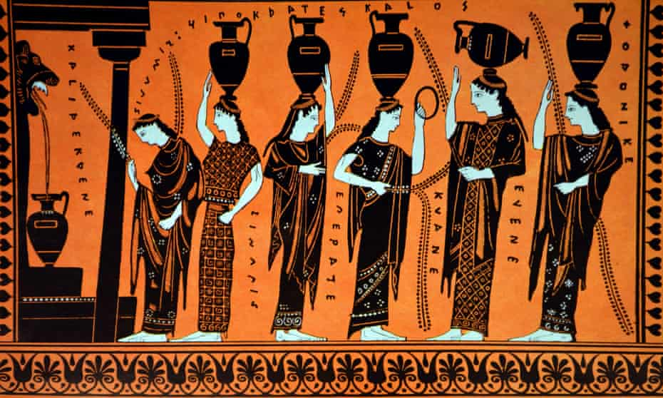 Pottery from 400BC depicting Greek women collecting water for a bride
