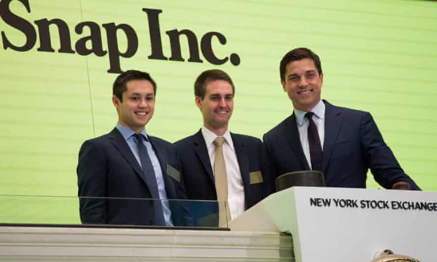 Snapchat co-founders Bobby Murphy and Evan Spiegel, with Thomas Farley, president of the NYSE
