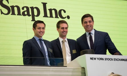 Snap Inc CEO, Evan Spiegel (centre), is one of the few who has declined a significant acquisition offer from Facebook.
