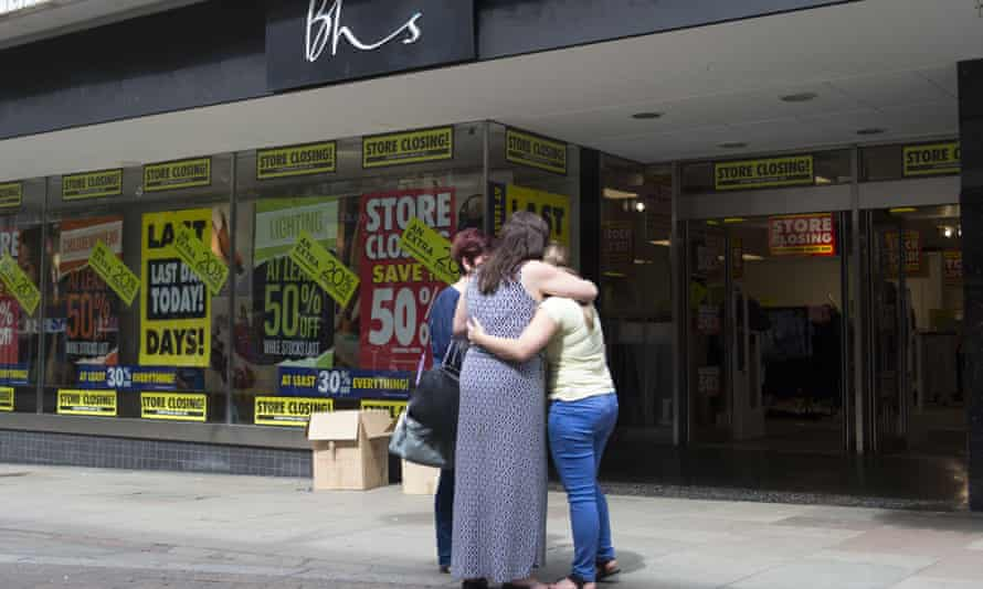 BHS workers outside the Newport store