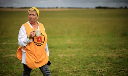 Tina Louise Rothery at the anti-fracking camp near Blackpool in 2014