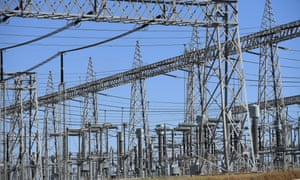 High voltage electricity transmission lines at the Liddell Power Station in Muswellbrook, New South Wales.