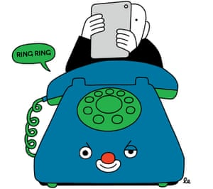An illustration of an old fashioned blue cartoon telephone with a green dial and a slightly evil face beneath the dial an a figure behind holding his mobile phone in front of his face in horror