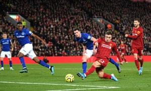 Xherdan Shaqiri of Liverpool scores his team's second goal.