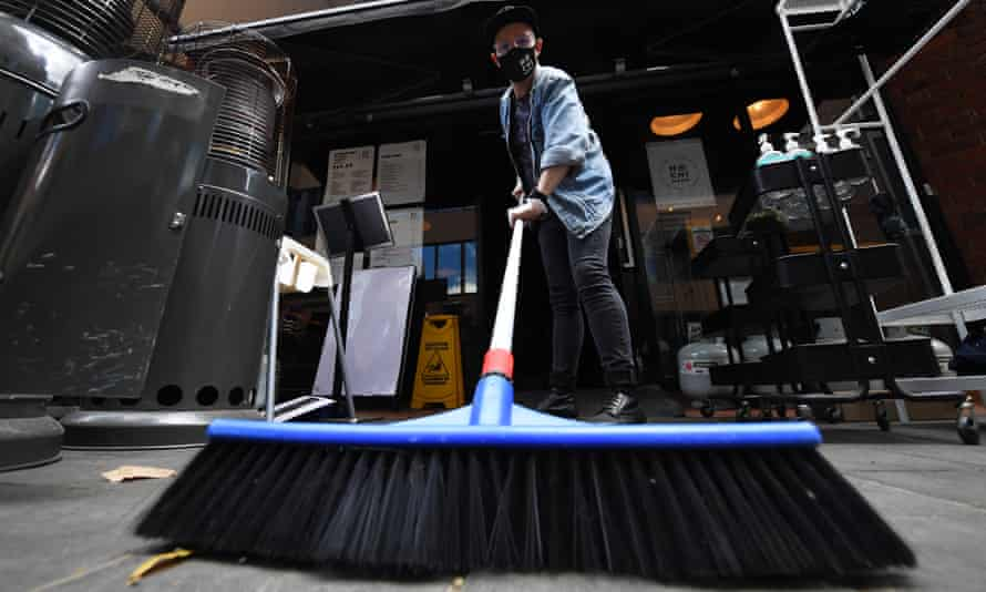 Cafe sweeping after easing of coronavirus restrictions in Melbourne