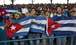 Cuban fans cheering the national team.