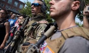 Christian Yingling of the Pennsylvania Light Foot Milita (left) in Charlottesville on Saturday.