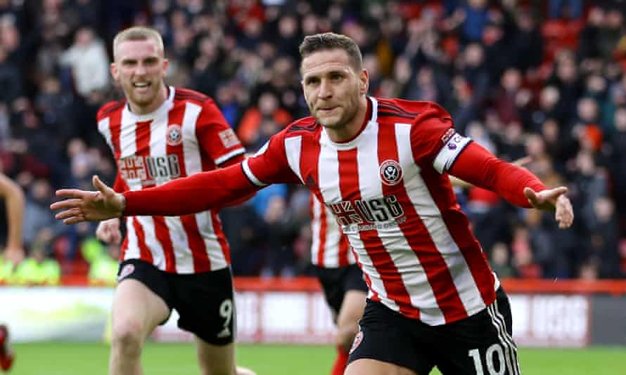 Billy Sharp, here celebrating a goal against Bournemouth, and his Sheffield United teammates are fifth in the Premier League.