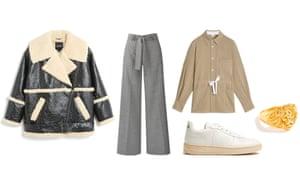 Jacket, £95, monki.com. Trousers, £169, meandem.com. Shirt, £79, arket.com. Trainers, £105, by Veja from matchesfashion.com. Ring, £59.50, jcrew.com