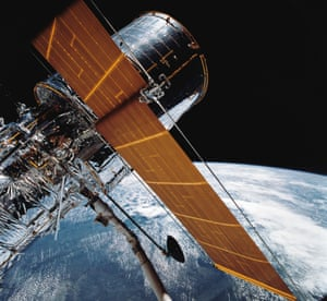 In this 1990 file photo, the giant Hubble Space Telescope can be seen as it is suspended in space