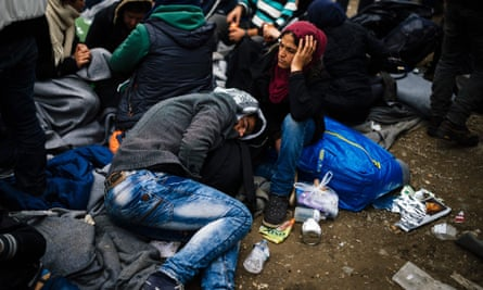 Refugees at the Greek-Macedonian border in 2016.