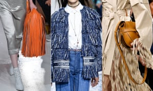 Fringing While it lives perennially in the wild west, fringing sashayed on to the international catwalks in a big way last September. Less festival shreds, more elevated bohemia – have fun with this one (left to right: Calvin Klein Collection, Christian Dior, Loewe).