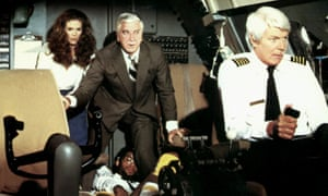 'Looks like I picked the wrong week to quit sniffing glue' … Julie Hagerty, Leslie Nielsen and Peter Graves in the 1980 movie Airplane!