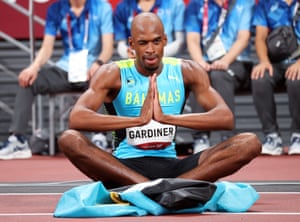 Steven Gardiner of Bahamas celebrates after winning the 400m final.