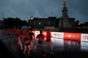 With fun running cancelled due to coronavirus and the usual London marathon course off-limits, the elite racers had to undertake 19.6 laps of St James' Park en route to the finish line at the Mall. Here, the women pass by Buckingham Palace.