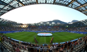 Stade des Alpes, Grenoble - view inside the stadium before the match.