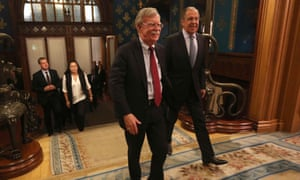 John Bolton and Sergey Lavrov during a meeting in Moscow on 22 October.