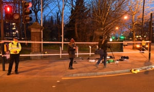 The scene in Mile End, east London following a knife attack on Thursday.