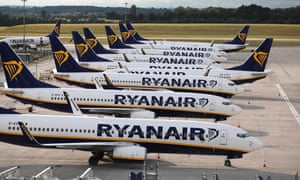 Ryanair planes parked at Stansted airport