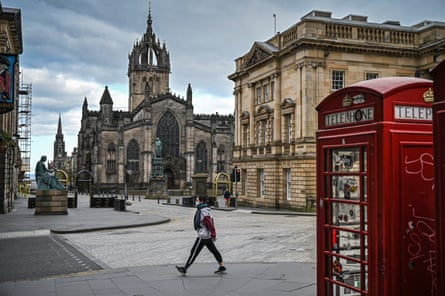 Lone person seen out on the Royal Mile, Edinburgh during lockdown