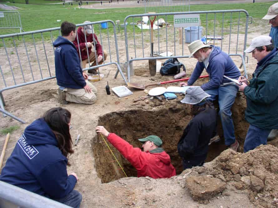 Sampling for the New York soil survey in East Meadow, Long Island.