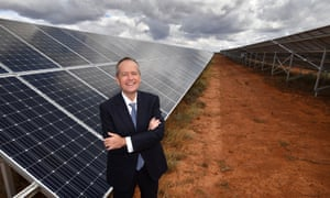 Bill Shorten at a solar farm in South Australia. The Labor leader will on Saturday promise to establish a National Environment Protection Authority