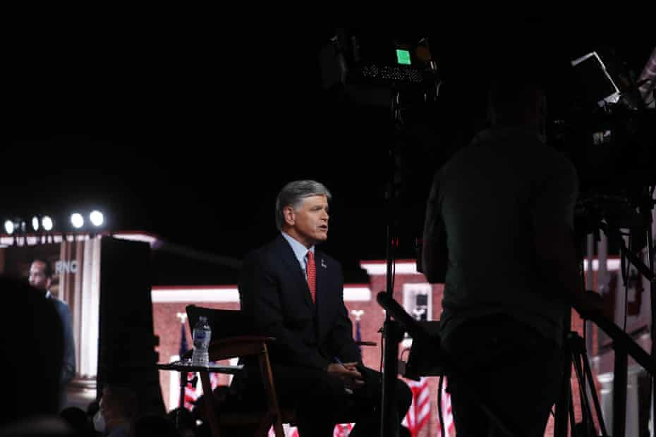 Sean Hannity broadcasts from the Republican national convention in Baltimore, Maryland, on 26 August.