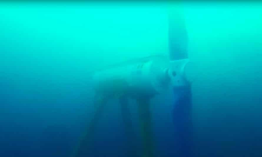 A turbine in the Bluemull Sound.