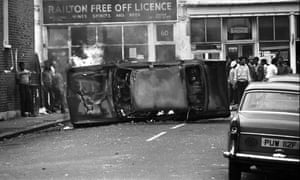A van on fire during the riot in Brixton, South London in 1981.