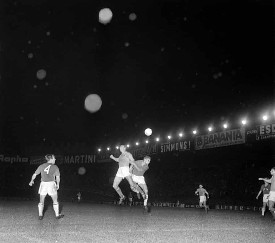 Players from Yugoslavia and Soviet Union compete for the ball at the first European Championship final in 1960.