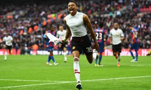 Jesse Lingard of Manchester United celebrates scoring his team's second goal.