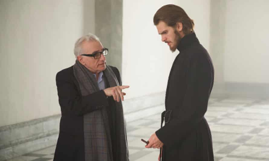 Scorsese directing Adam Garfield during the filming of Silence.