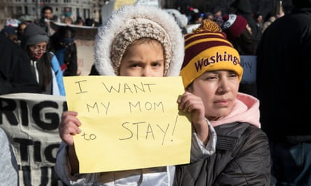 A march in support of 'a day without immigrants', in Washington DC.
