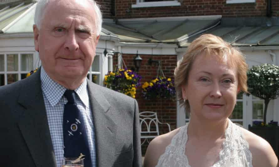 Michael Gibson, who died in an Oxfordshire care home in early April, and his daughter Dr Cathy Gardner at her wedding