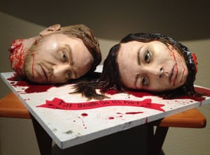 Severed heads on a plate. Natalie Sideserf designed this cake for her wedding