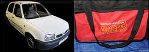 Nissan Micra being used by Salman Abedi as well as a sports bag. Handout by Greater Manchester Police