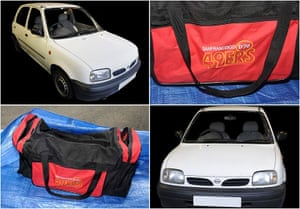 The Nissan Micra police believe was used by Salman Abedi, as well as a sports bag. Handout by Greater Manchester police.
