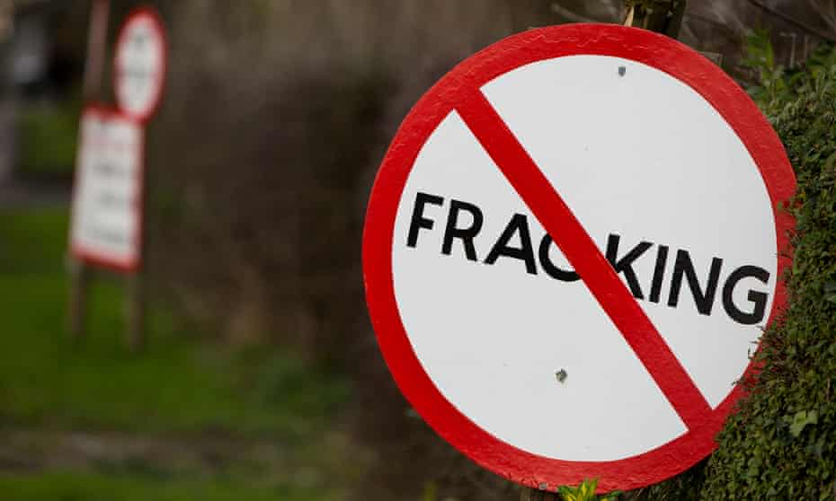 An anti-fracking sign overlooking Roseacre Wood, on the Fylde in Lancashire