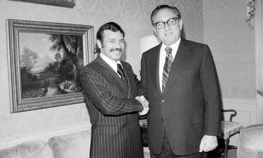 Abdelaziz Bouteflika with US secretary of state Henry Kissinger in 1975.