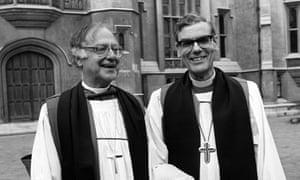 John Habgood, right, with Robert Runcie, the archbishop of Canterbury, at Lambeth palace, London, just before Habgood's enthronement as archbishop of York in November 1983.