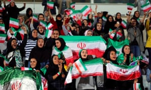 Some of the 100 or so Iranian women who watched the national team's friendly against Bolivia in October. Last week's Iran game had a men-only crowd.